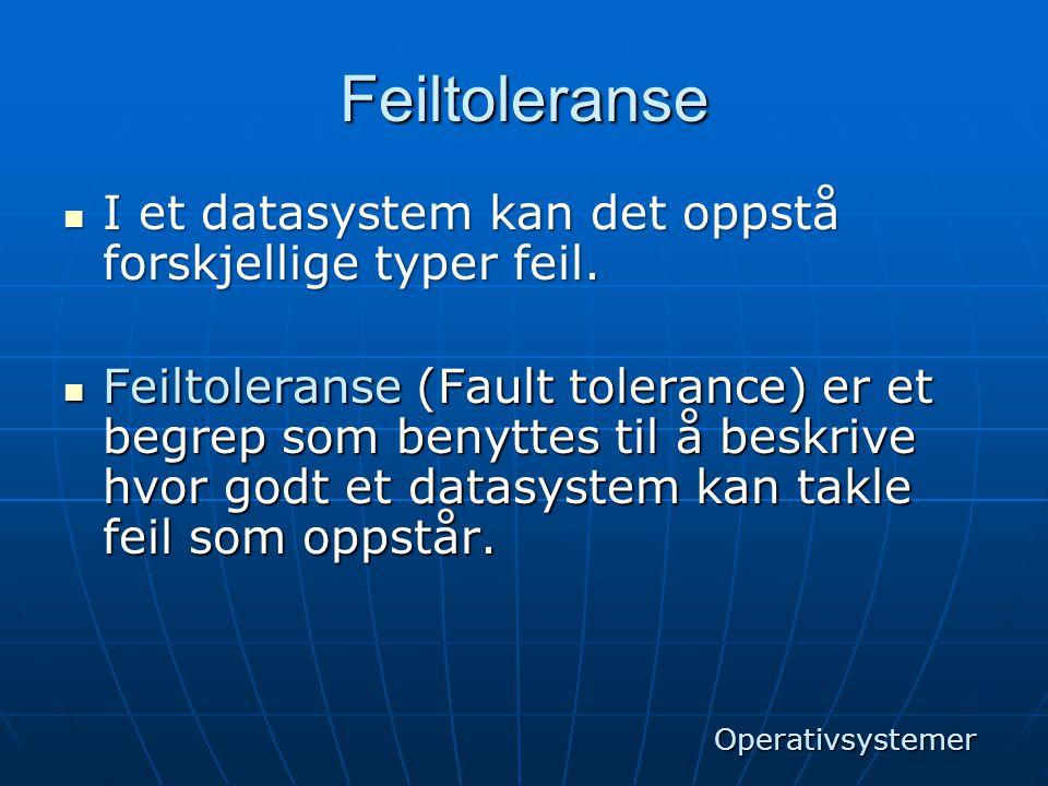 Feiltoleranse  I et datasystem kan det oppstå forskjellige typer feil.  Feiltoleranse (Fault tolerance) er et begrep som benyttes til å beskrive hvo