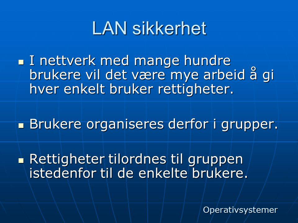 LAN sikkerhet  I nettverk med mange hundre brukere vil det være mye arbeid å gi hver enkelt bruker rettigheter.  Brukere organiseres derfor i gruppe