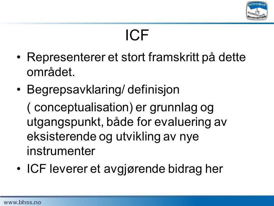 ICF •Representerer et stort framskritt på dette området. •Begrepsavklaring/ definisjon ( conceptualisation) er grunnlag og utgangspunkt, både for eval