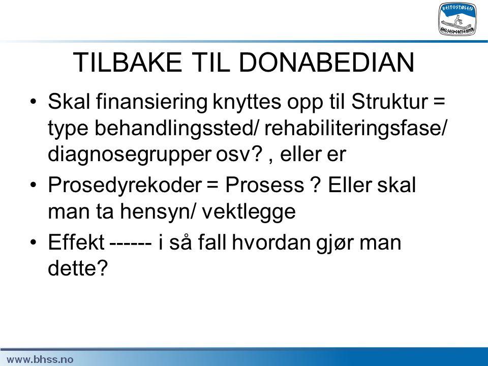 TILBAKE TIL DONABEDIAN •Skal finansiering knyttes opp til Struktur = type behandlingssted/ rehabiliteringsfase/ diagnosegrupper osv?, eller er •Prosed