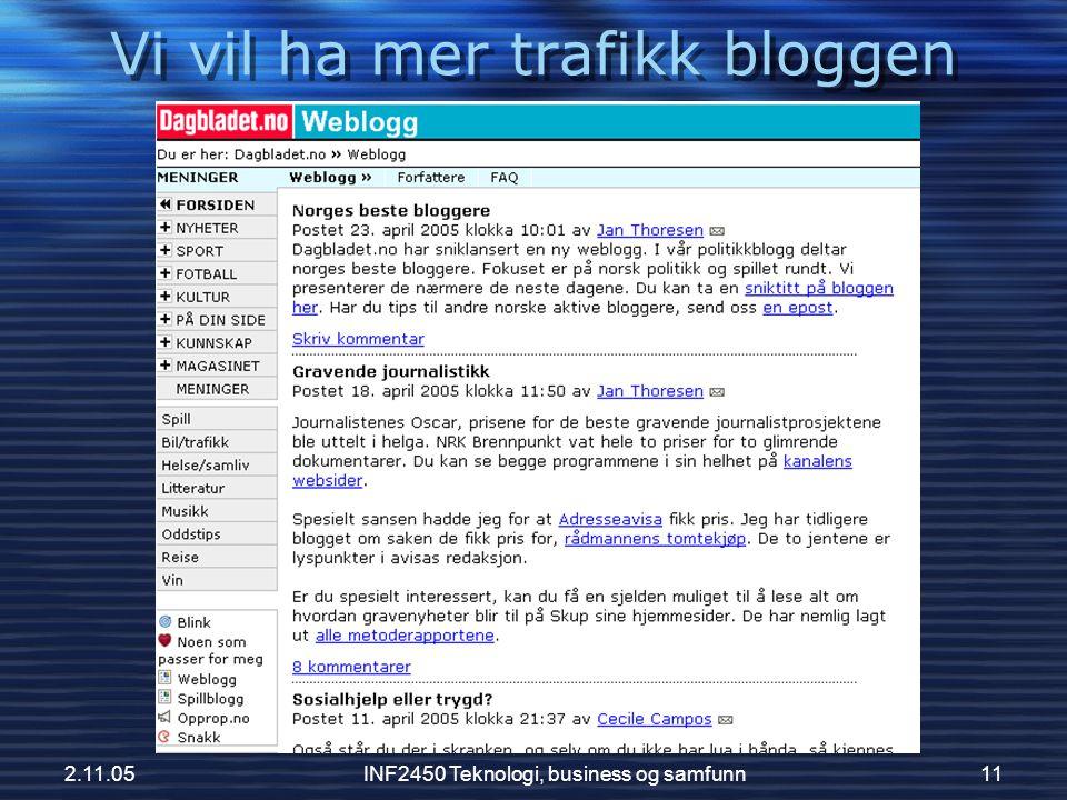 2.11.05INF2450 Teknologi, business og samfunn11 Vi vil ha mer trafikk bloggen