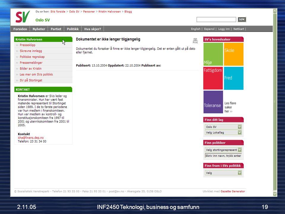 2.11.05INF2450 Teknologi, business og samfunn19 Kristins bøff