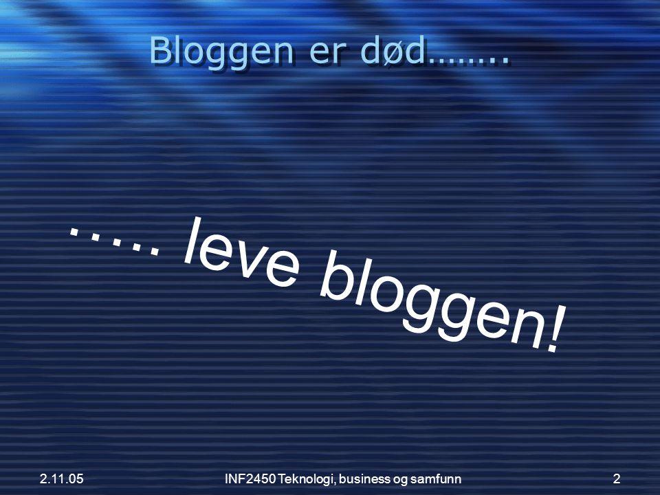 2.11.05INF2450 Teknologi, business og samfunn3 Hva er en blog?