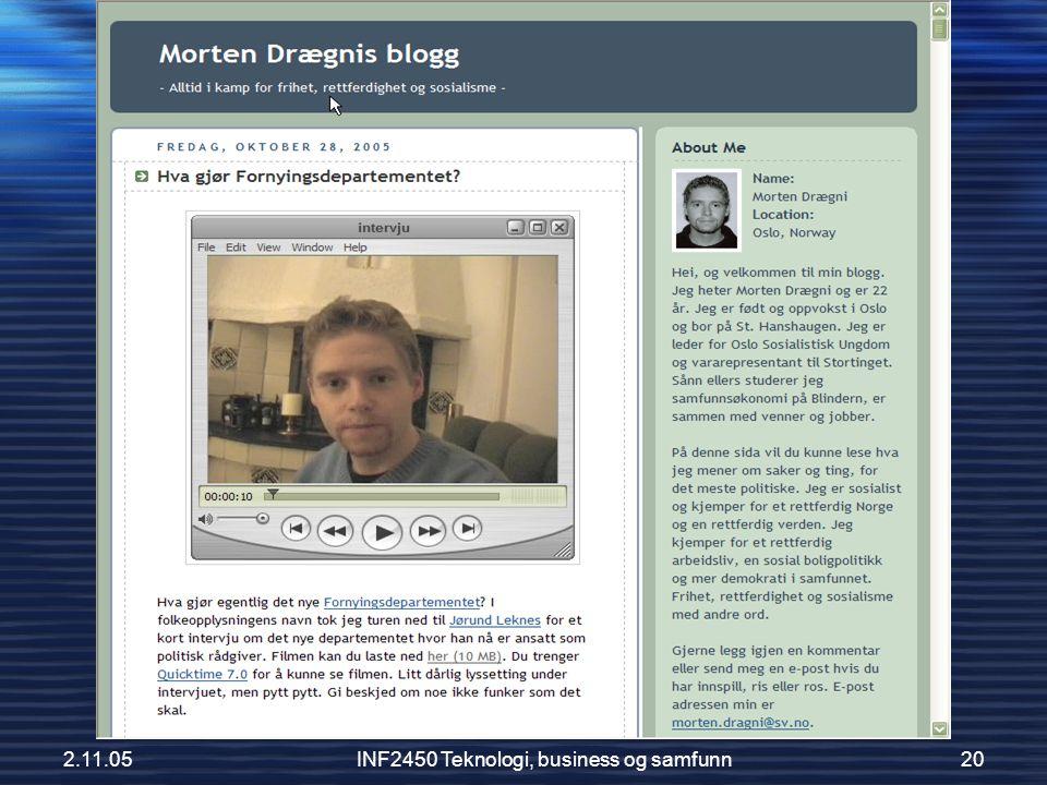 2.11.05INF2450 Teknologi, business og samfunn20 En virkelig SV-blogger