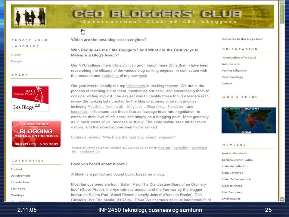 2.11.05INF2450 Teknologi, business og samfunn25 CEO Bloggers Club