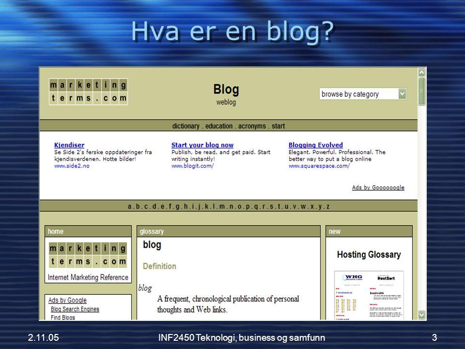 2.11.05INF2450 Teknologi, business og samfunn14 Pornobloggen