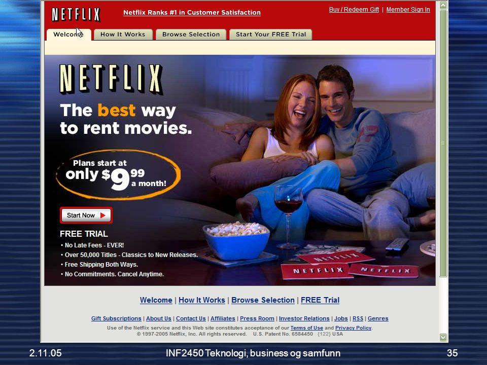 2.11.05INF2450 Teknologi, business og samfunn35 Netflix
