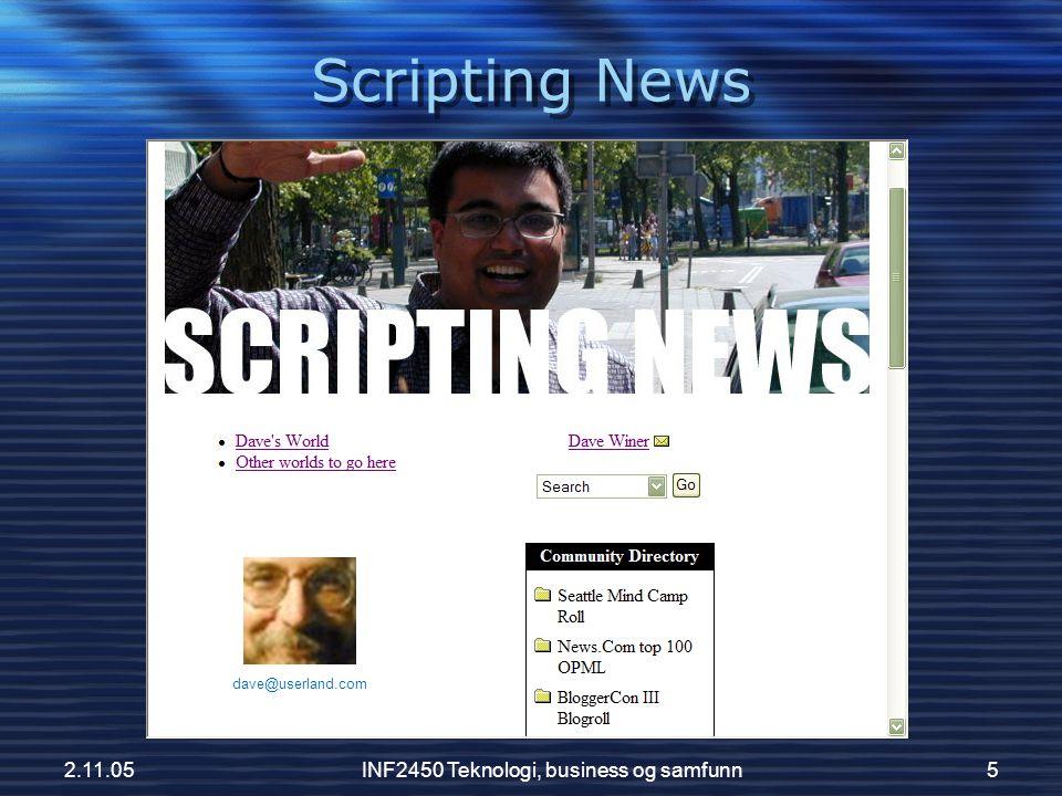 2.11.05INF2450 Teknologi, business og samfunn6 Scripting News 11.september 2001 6:45AM: I sent out a bulletin.