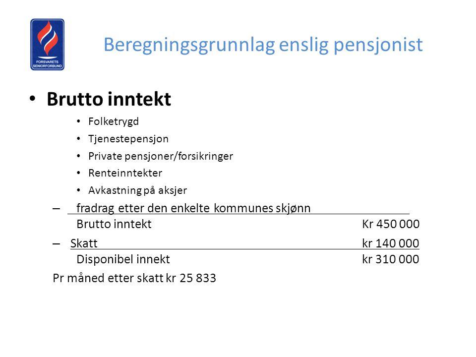 Beregningsgrunnlag enslig pensjonist • Brutto inntekt • Folketrygd • Tjenestepensjon • Private pensjoner/forsikringer • Renteinntekter • Avkastning på