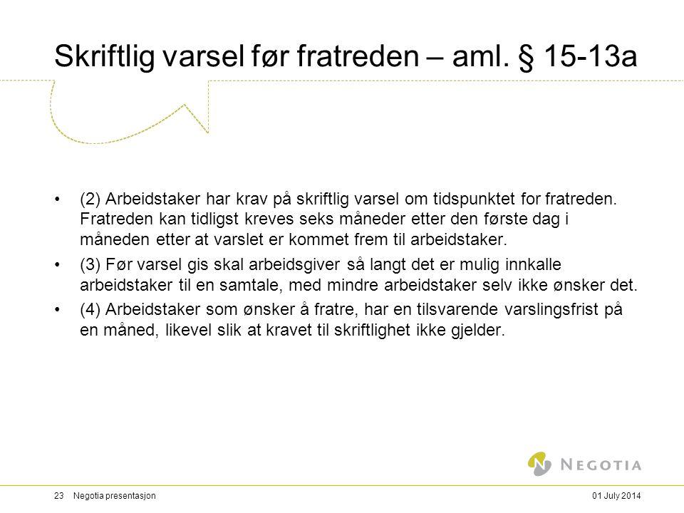 Skriftlig varsel før fratreden – aml.