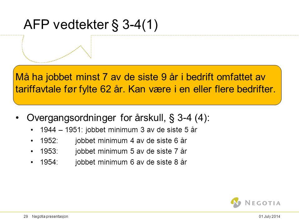 AFP vedtekter § 3-4(1) Må ha jobbet minst 7 av de siste 9 år i bedrift omfattet av tariffavtale før fylte 62 år.