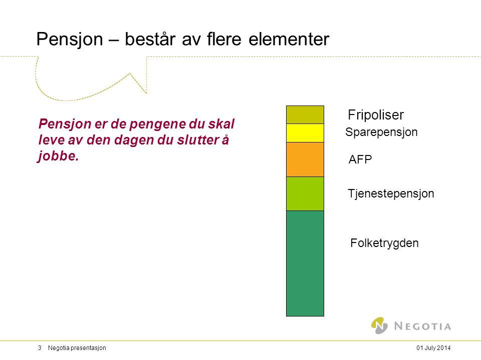 01 July 20143 Negotia presentasjon Pensjon – består av flere elementer Pensjon er de pengene du skal leve av den dagen du slutter å jobbe.