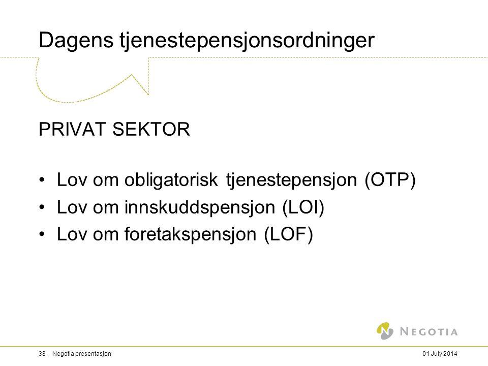 Dagens tjenestepensjonsordninger PRIVAT SEKTOR •Lov om obligatorisk tjenestepensjon (OTP) •Lov om innskuddspensjon (LOI) •Lov om foretakspensjon (LOF) 01 July 201438 Negotia presentasjon
