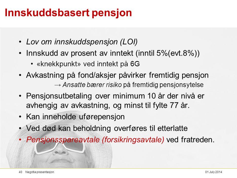 Innskuddsbasert pensjon •Lov om innskuddspensjon (LOI) •Innskudd av prosent av inntekt (inntil 5%(evt.8%)) •«knekkpunkt» ved inntekt på 6G •Avkastning på fond/aksjer påvirker fremtidig pensjon → Ansatte bærer risiko på fremtidig pensjonsytelse •Pensjonsutbetaling over minimum 10 år der nivå er avhengig av avkastning, og minst til fylte 77 år.