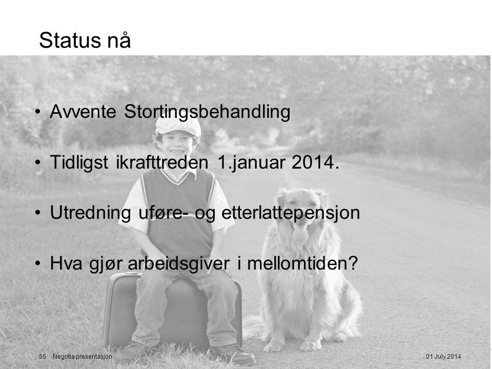 Status nå •Avvente Stortingsbehandling •Tidligst ikrafttreden 1.januar 2014.