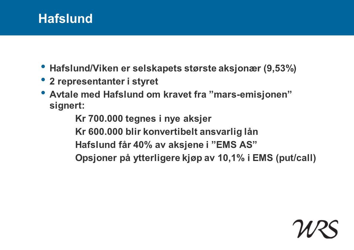 """Hafslund • Hafslund/Viken er selskapets største aksjonær (9,53%) • 2 representanter i styret • Avtale med Hafslund om kravet fra """"mars-emisjonen"""" sign"""