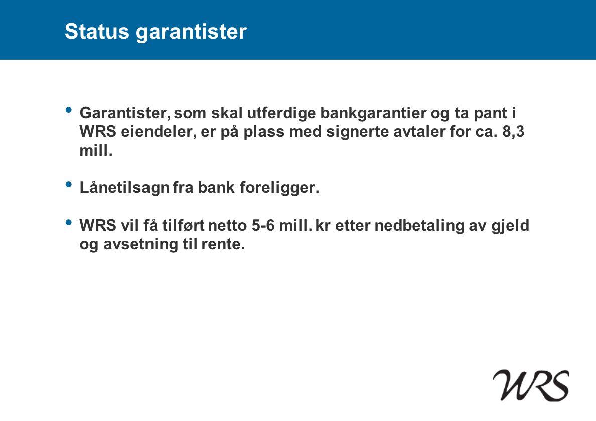 Status garantister • Garantister, som skal utferdige bankgarantier og ta pant i WRS eiendeler, er på plass med signerte avtaler for ca. 8,3 mill. • Lå