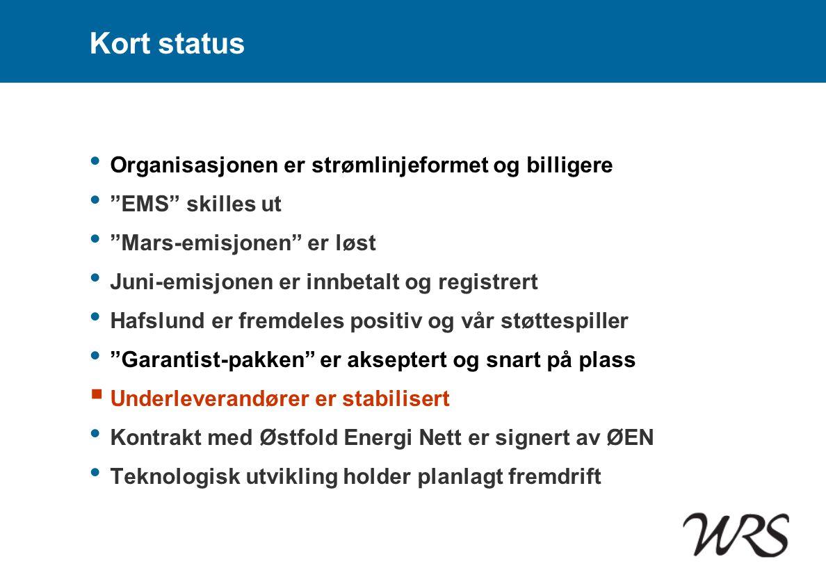 """Kort status • Organisasjonen er strømlinjeformet og billigere • """"EMS"""" skilles ut • """"Mars-emisjonen"""" er løst • Juni-emisjonen er innbetalt og registrer"""