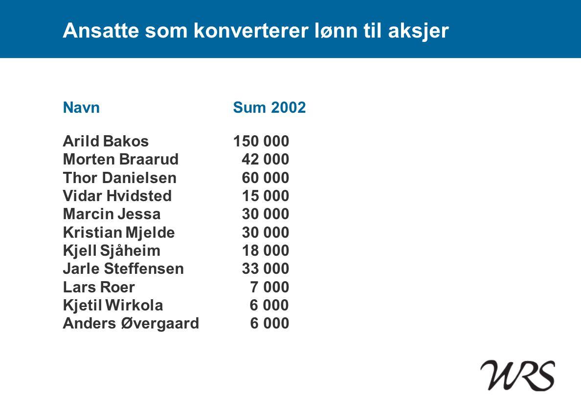 Ansatte som konverterer lønn til aksjer NavnSum 2002 Arild Bakos150 000 Morten Braarud 42 000 Thor Danielsen 60 000 Vidar Hvidsted 15 000 Marcin Jessa
