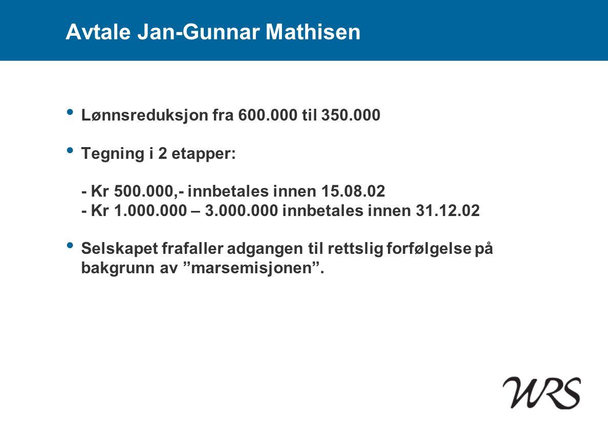 Avtale Jan-Gunnar Mathisen • Lønnsreduksjon fra 600.000 til 350.000 • Tegning i 2 etapper: - Kr 500.000,- innbetales innen 15.08.02 - Kr 1.000.000 – 3