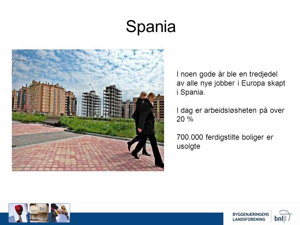 Spania I noen gode år ble en tredjedel av alle nye jobber i Europa skapt i Spania. I dag er arbeidsløsheten på over 20 % 700.000 ferdigstilte boliger