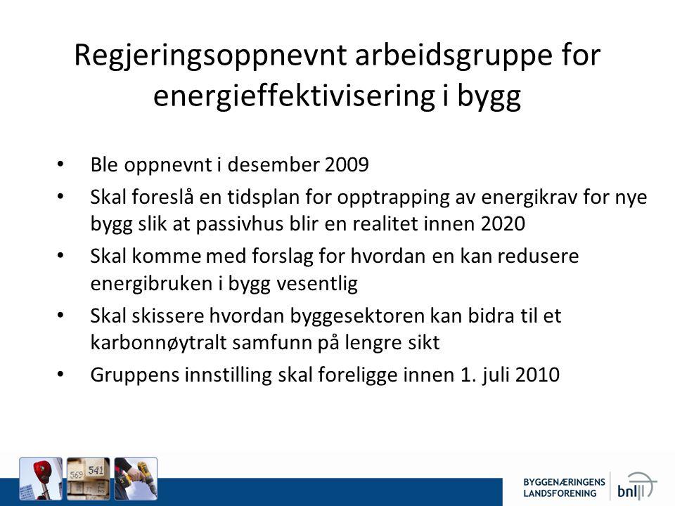 Regjeringsoppnevnt arbeidsgruppe for energieffektivisering i bygg • Ble oppnevnt i desember 2009 • Skal foreslå en tidsplan for opptrapping av energik