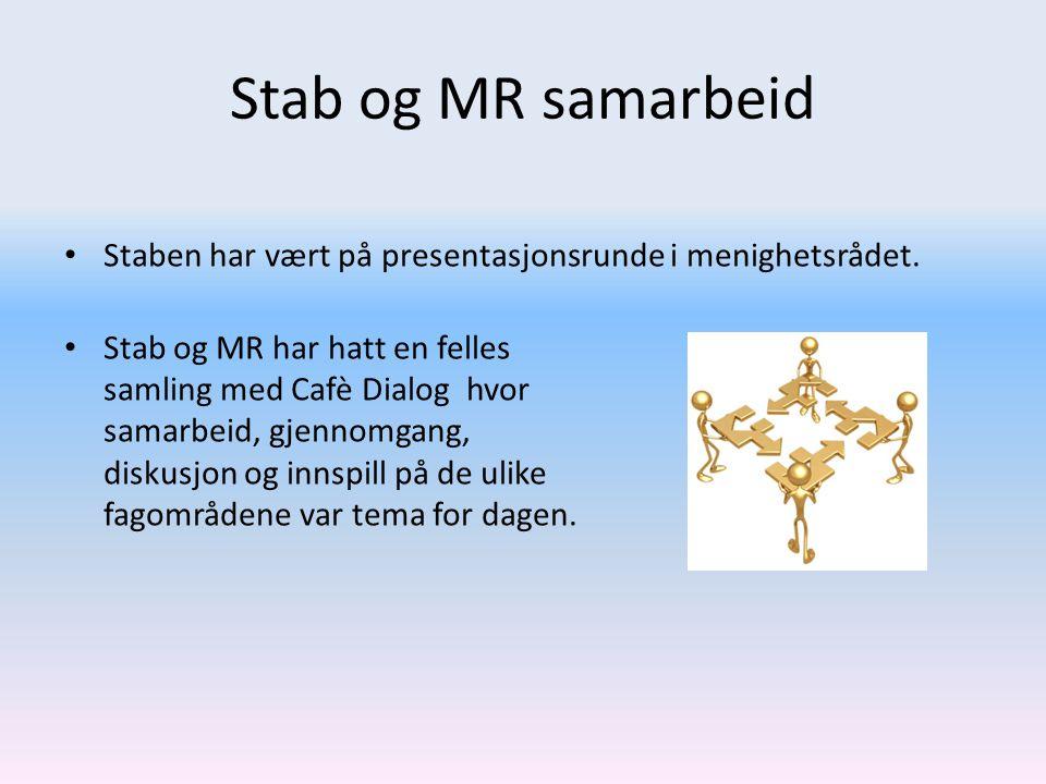 Stab og MR samarbeid • Staben har vært på presentasjonsrunde i menighetsrådet. • Stab og MR har hatt en felles samling med Cafè Dialog hvor samarbeid,