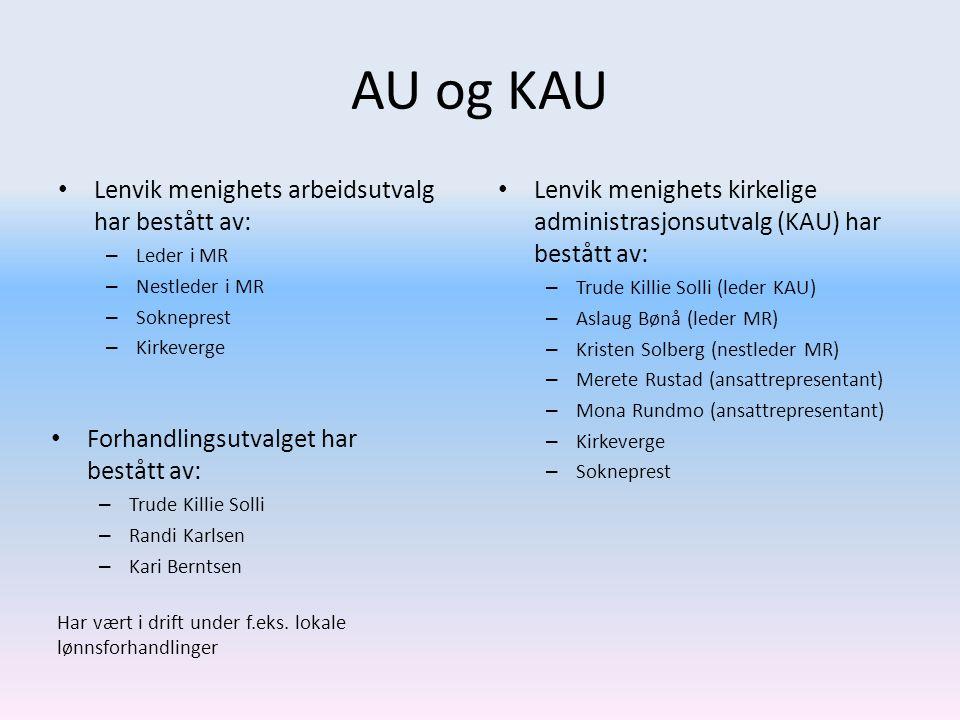 AU og KAU • Lenvik menighets arbeidsutvalg har bestått av: – Leder i MR – Nestleder i MR – Sokneprest – Kirkeverge • Lenvik menighets kirkelige admini