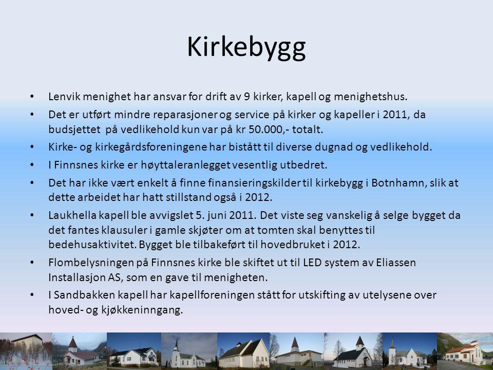 Kirkebygg • Lenvik menighet har ansvar for drift av 9 kirker, kapell og menighetshus. • Det er utført mindre reparasjoner og service på kirker og kape