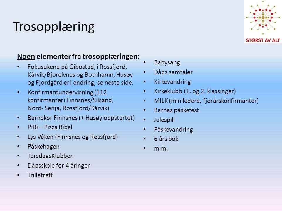 Trosopplæring Noen elementer fra trosopplæringen: • Fokusukene på Gibostad, i Rossfjord, Kårvik/Bjorelvnes og Botnhamn, Husøy og Fjordgård er i endrin
