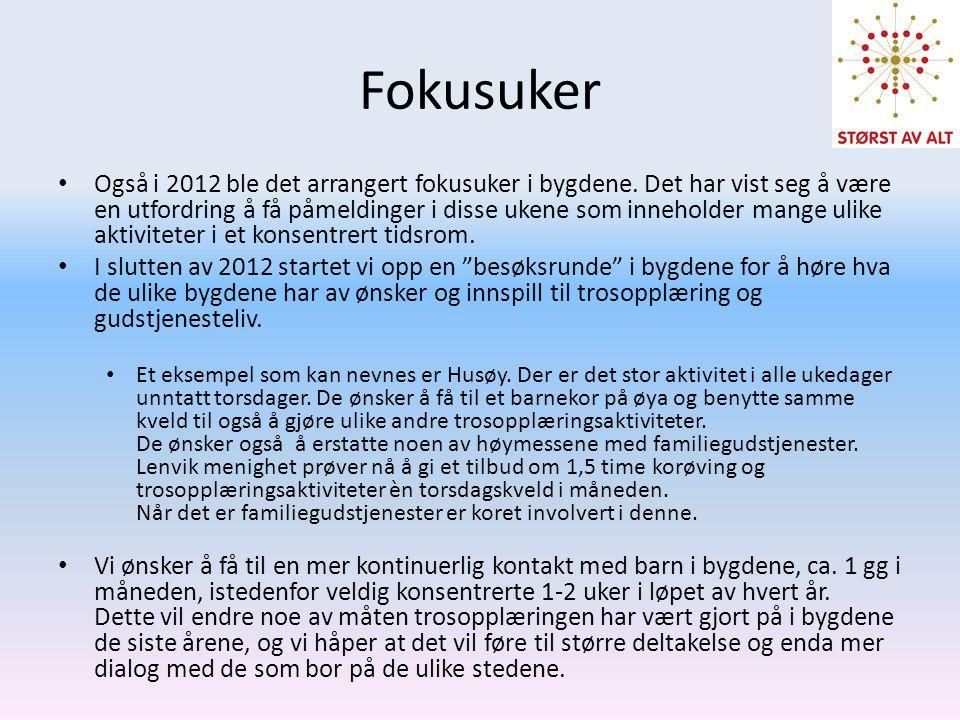 Fokusuker • Også i 2012 ble det arrangert fokusuker i bygdene. Det har vist seg å være en utfordring å få påmeldinger i disse ukene som inneholder man