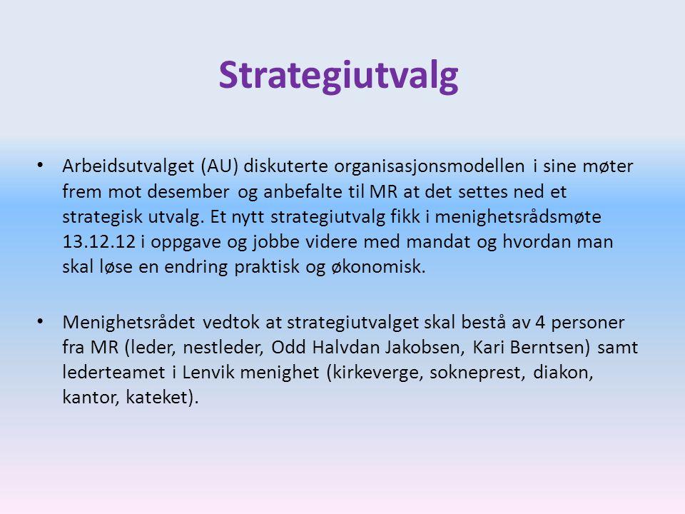 Strategiutvalg • Arbeidsutvalget (AU) diskuterte organisasjonsmodellen i sine møter frem mot desember og anbefalte til MR at det settes ned et strateg