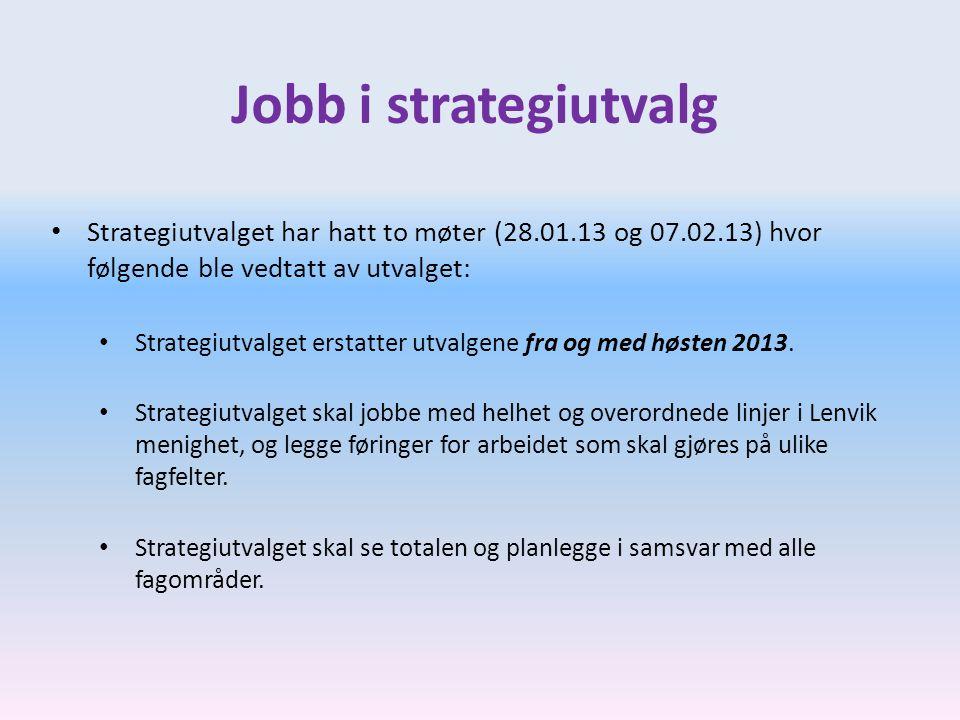 Jobb i strategiutvalg • Strategiutvalget har hatt to møter (28.01.13 og 07.02.13) hvor følgende ble vedtatt av utvalget: • Strategiutvalget erstatter