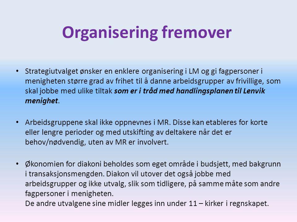 Organisering fremover • Strategiutvalget ønsker en enklere organisering i LM og gi fagpersoner i menigheten større grad av frihet til å danne arbeidsg