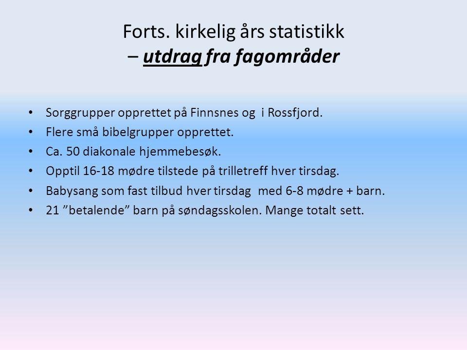 Forts. kirkelig års statistikk – utdrag fra fagområder • Sorggrupper opprettet på Finnsnes og i Rossfjord. • Flere små bibelgrupper opprettet. • Ca. 5