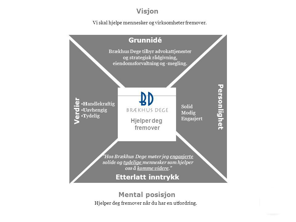 Grunnidé Verdier Personlighet Visjon Etterlatt inntrykk Vi skal hjelpe mennesker og virksomheter fremover. Brækhus Dege tilbyr advokattjenester og str
