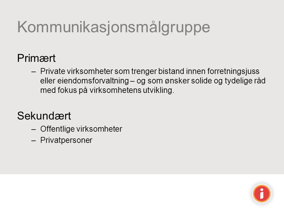 Kommunikasjonsmålgruppe Primært –Private virksomheter som trenger bistand innen forretningsjuss eller eiendomsforvaltning – og som ønsker solide og ty