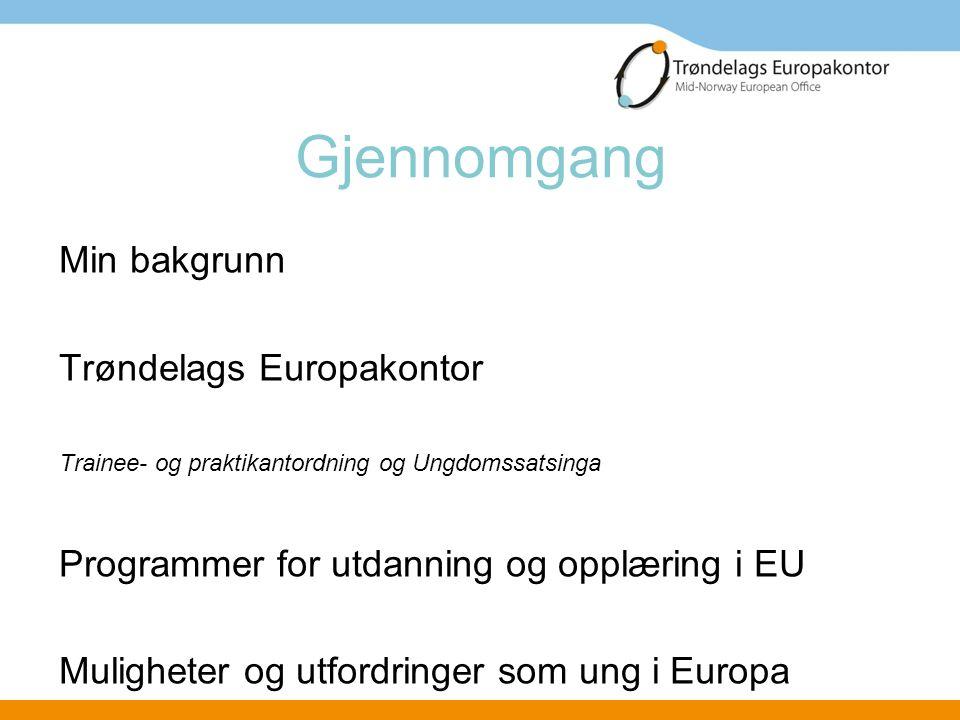 Gjennomgang Min bakgrunn Trøndelags Europakontor Trainee- og praktikantordning og Ungdomssatsinga Programmer for utdanning og opplæring i EU Mulighete