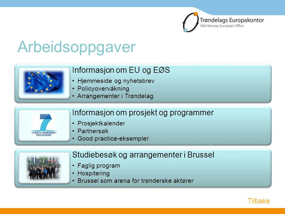 Arbeidsoppgaver Informasjon om EU og EØS •Hjemmeside og nyhetsbrev •Policyovervåkning •Arrangementer i Trøndelag Informasjon om prosjekt og programmer