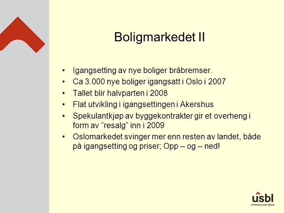 Boligmarkedet II •Igangsetting av nye boliger bråbremser. •Ca 3.000 nye boliger igangsatt i Oslo i 2007 •Tallet blir halvparten i 2008 •Flat utvikling