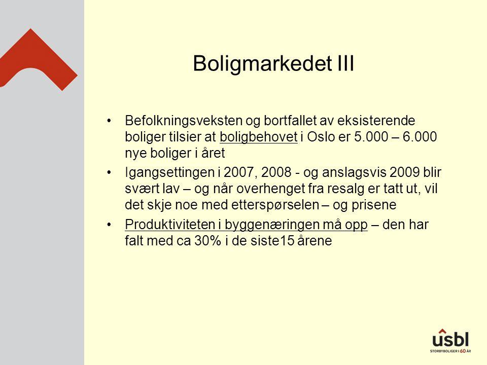 Boligmarkedet III •Befolkningsveksten og bortfallet av eksisterende boliger tilsier at boligbehovet i Oslo er 5.000 – 6.000 nye boliger i året •Igangsettingen i 2007, 2008 - og anslagsvis 2009 blir svært lav – og når overhenget fra resalg er tatt ut, vil det skje noe med etterspørselen – og prisene •Produktiviteten i byggenæringen må opp – den har falt med ca 30% i de siste15 årene
