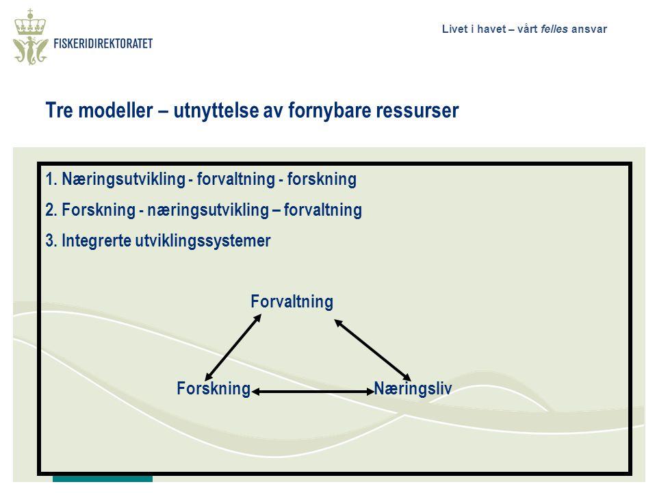 Livet i havet – vårt felles ansvar Tre modeller – utnyttelse av fornybare ressurser 1.