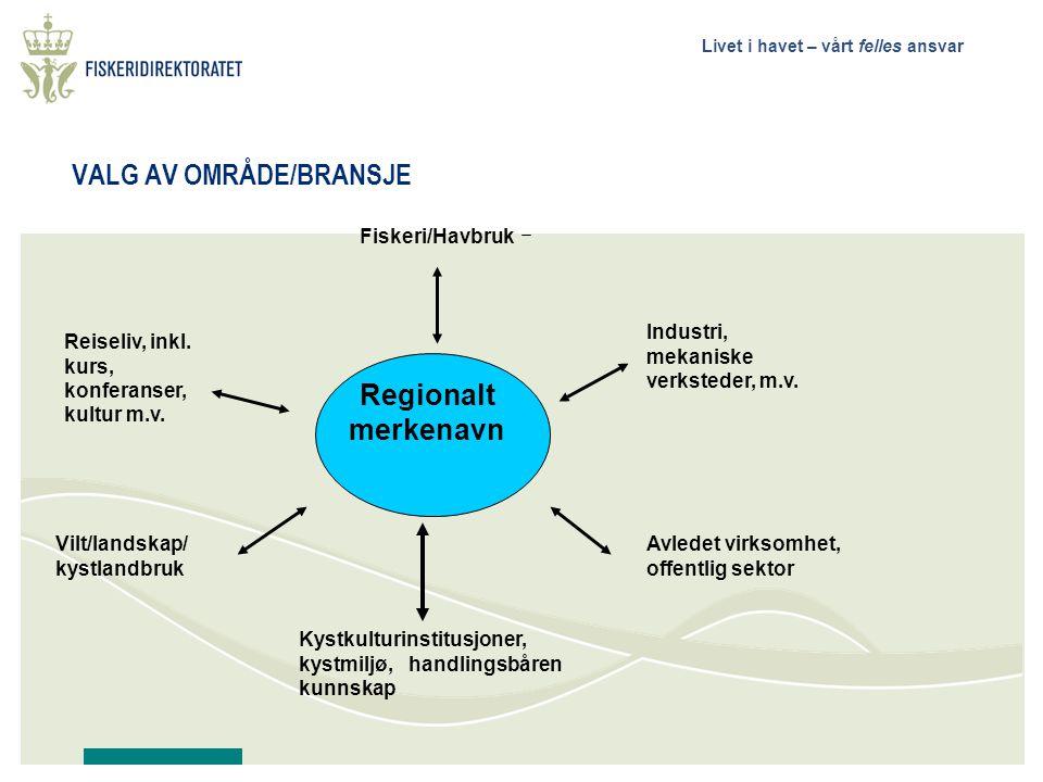 Livet i havet – vårt felles ansvar VALG AV OMRÅDE/BRANSJE Fiskeri/Havbruk Vilt/landskap/ kystlandbruk Reiseliv, inkl.
