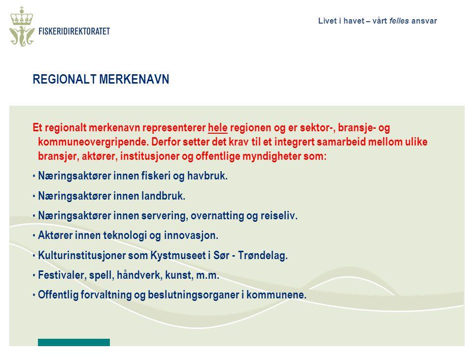 Livet i havet – vårt felles ansvar REGIONALT MERKENAVN Et regionalt merkenavn representerer hele regionen og er sektor-, bransje- og kommuneovergripende.