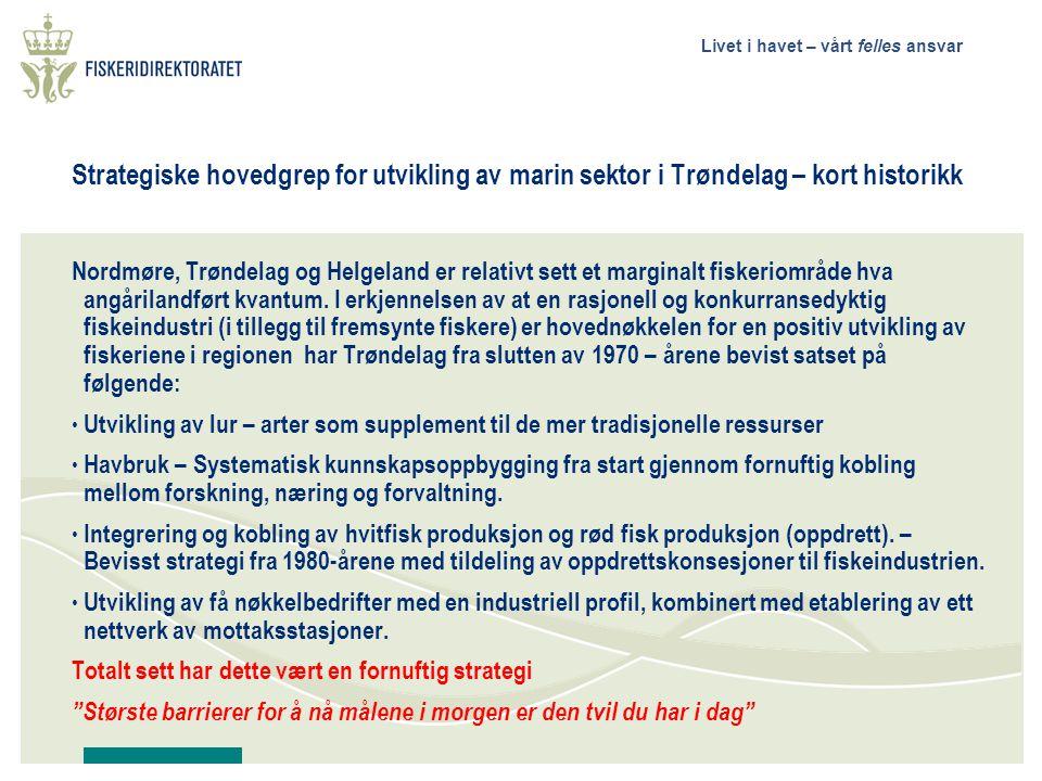 Livet i havet – vårt felles ansvar Strategiske hovedgrep for utvikling av marin sektor i Trøndelag – kort historikk Nordmøre, Trøndelag og Helgeland er relativt sett et marginalt fiskeriområde hva angårilandført kvantum.