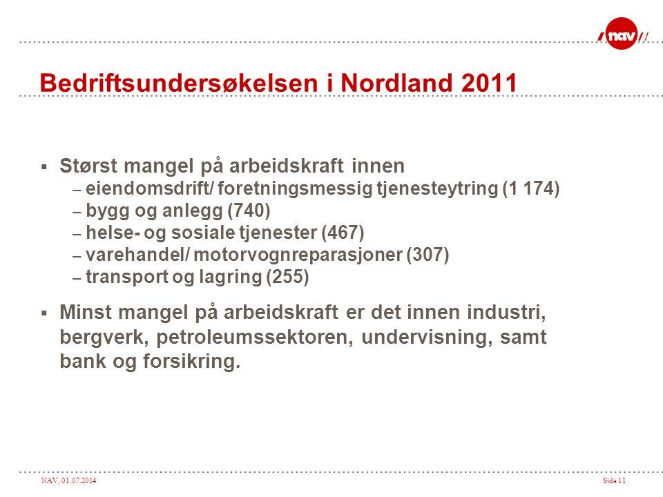 NAV, 01.07.2014Side 11  Størst mangel på arbeidskraft innen – eiendomsdrift/ foretningsmessig tjenesteytring (1 174) – bygg og anlegg (740) – helse-
