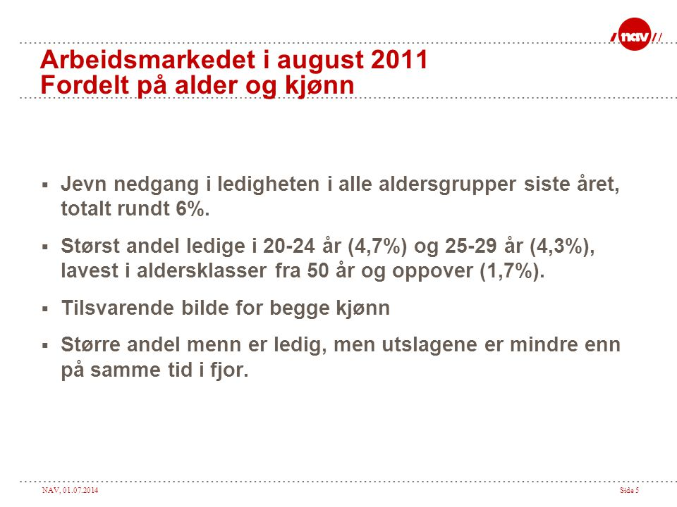 NAV, 01.07.2014Side 5 Arbeidsmarkedet i august 2011 Fordelt på alder og kjønn  Jevn nedgang i ledigheten i alle aldersgrupper siste året, totalt rundt 6%.