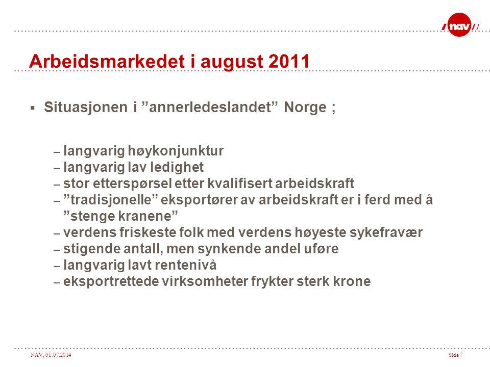 """NAV, 01.07.2014Side 7 Arbeidsmarkedet i august 2011  Situasjonen i """"annerledeslandet"""" Norge ; – langvarig høykonjunktur – langvarig lav ledighet – st"""