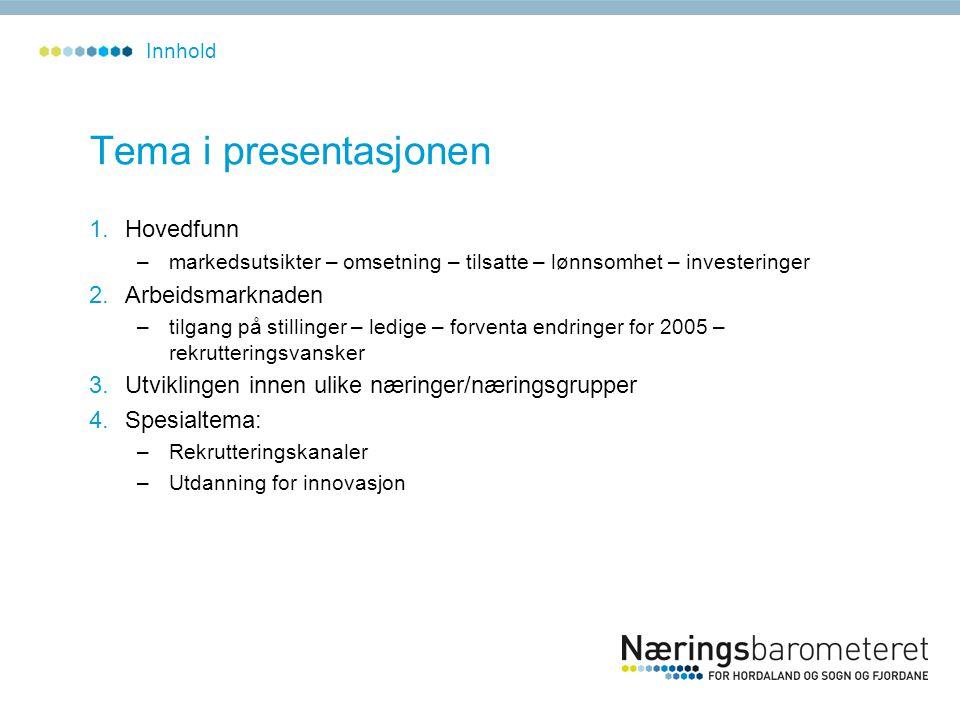 Tema i presentasjonen 1.Hovedfunn –markedsutsikter – omsetning – tilsatte – lønnsomhet – investeringer 2.Arbeidsmarknaden –tilgang på stillinger – led