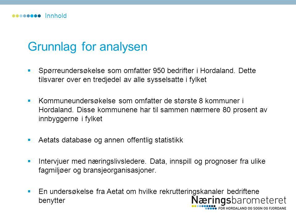 Grunnlag for analysen  Spørreundersøkelse som omfatter 950 bedrifter i Hordaland. Dette tilsvarer over en tredjedel av alle sysselsatte i fylket  Ko